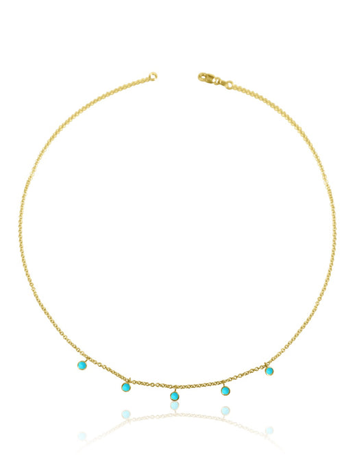14k Gold Turquoise/Opal Necklace