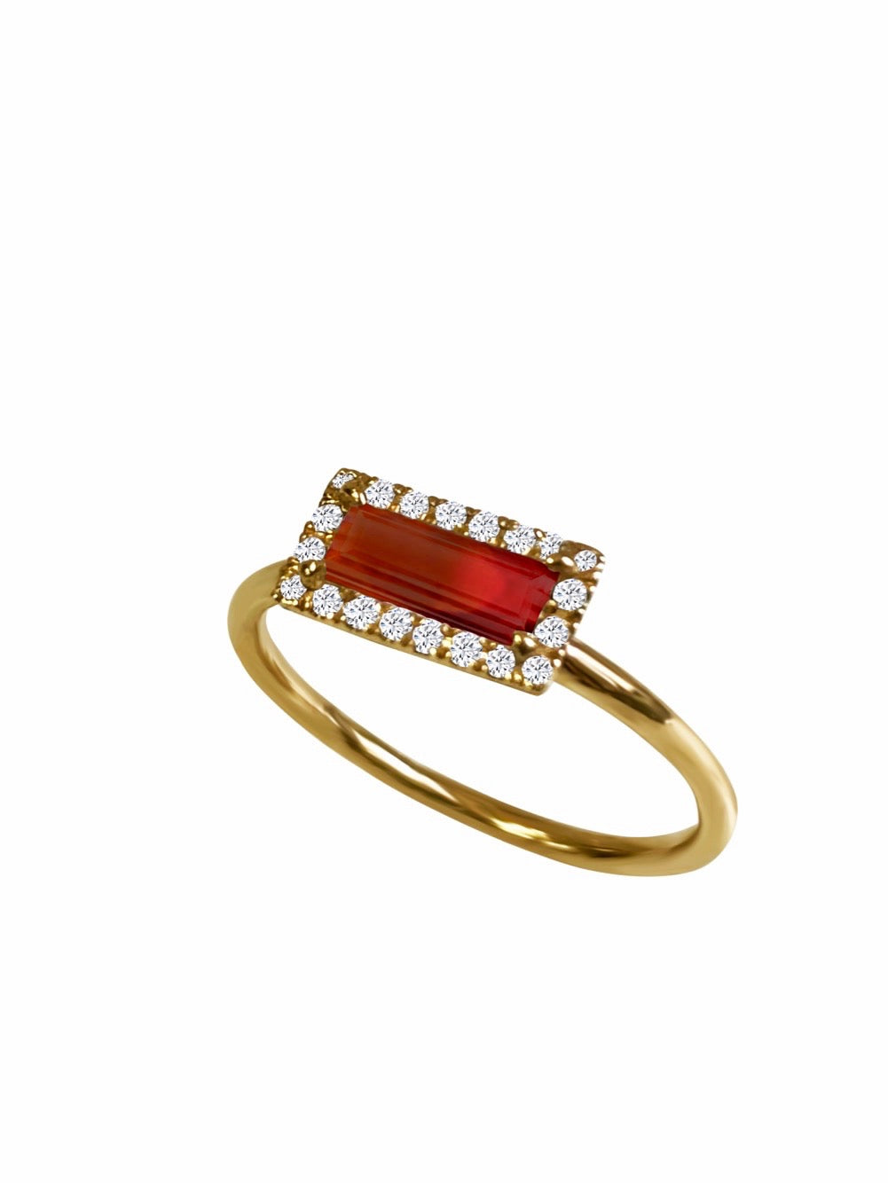14k Gold Diamond Gemstone Baguette Ring