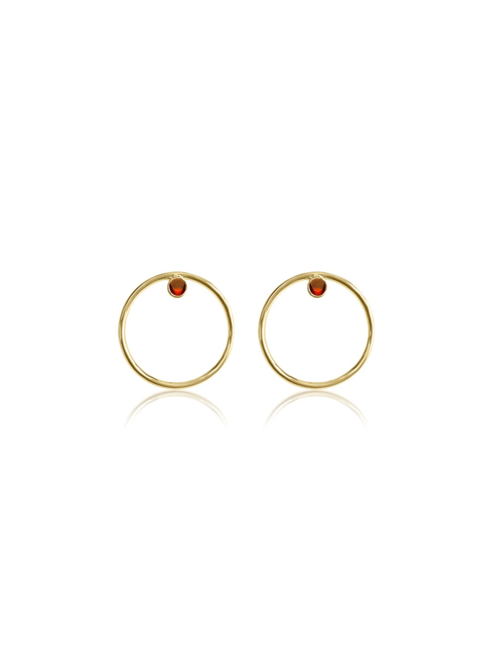 14K Gold Diamond/Gemstone Circle Earrings
