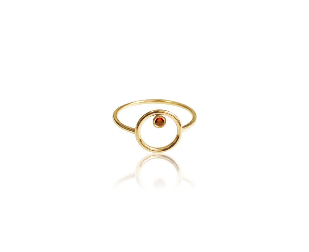 14k Gold And Diamond/Gemstone Circle Ring