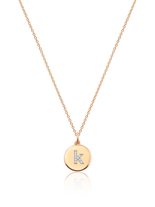 14K Gold Micro pave Diamond Initial Disc Necklace