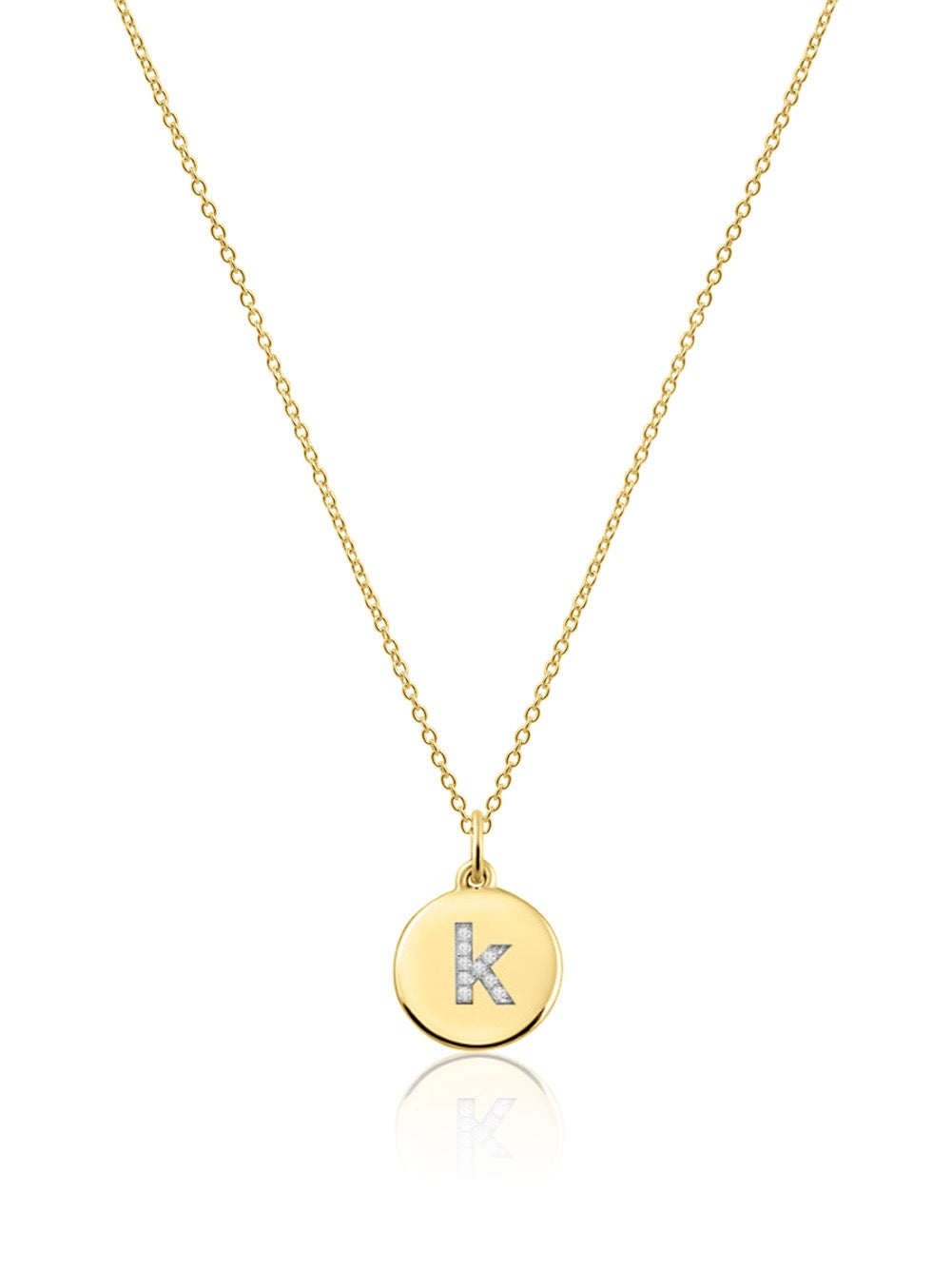 14K Gold Micropave Diamond Initial Disc Necklace