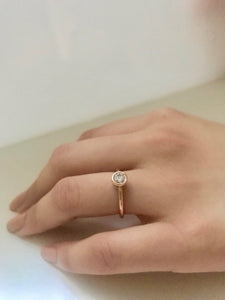 14k Gold Gem/Diamond Bezel Engagement Ring