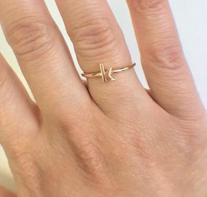 14K Diamond Initial Stackable Ring