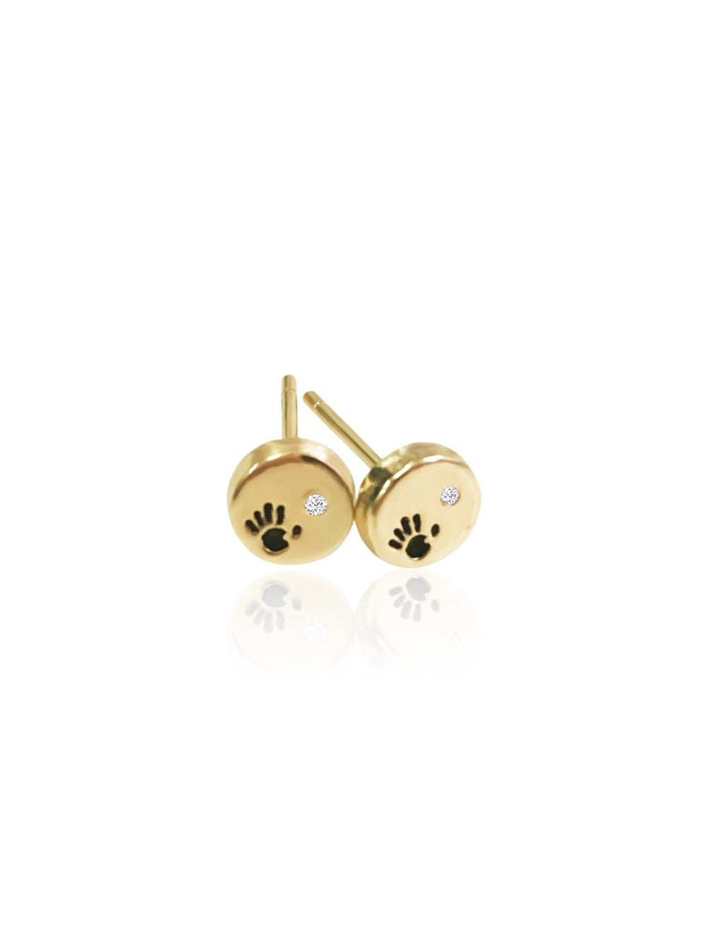14k Diamond Love Is In Your Hands Stud Earrings