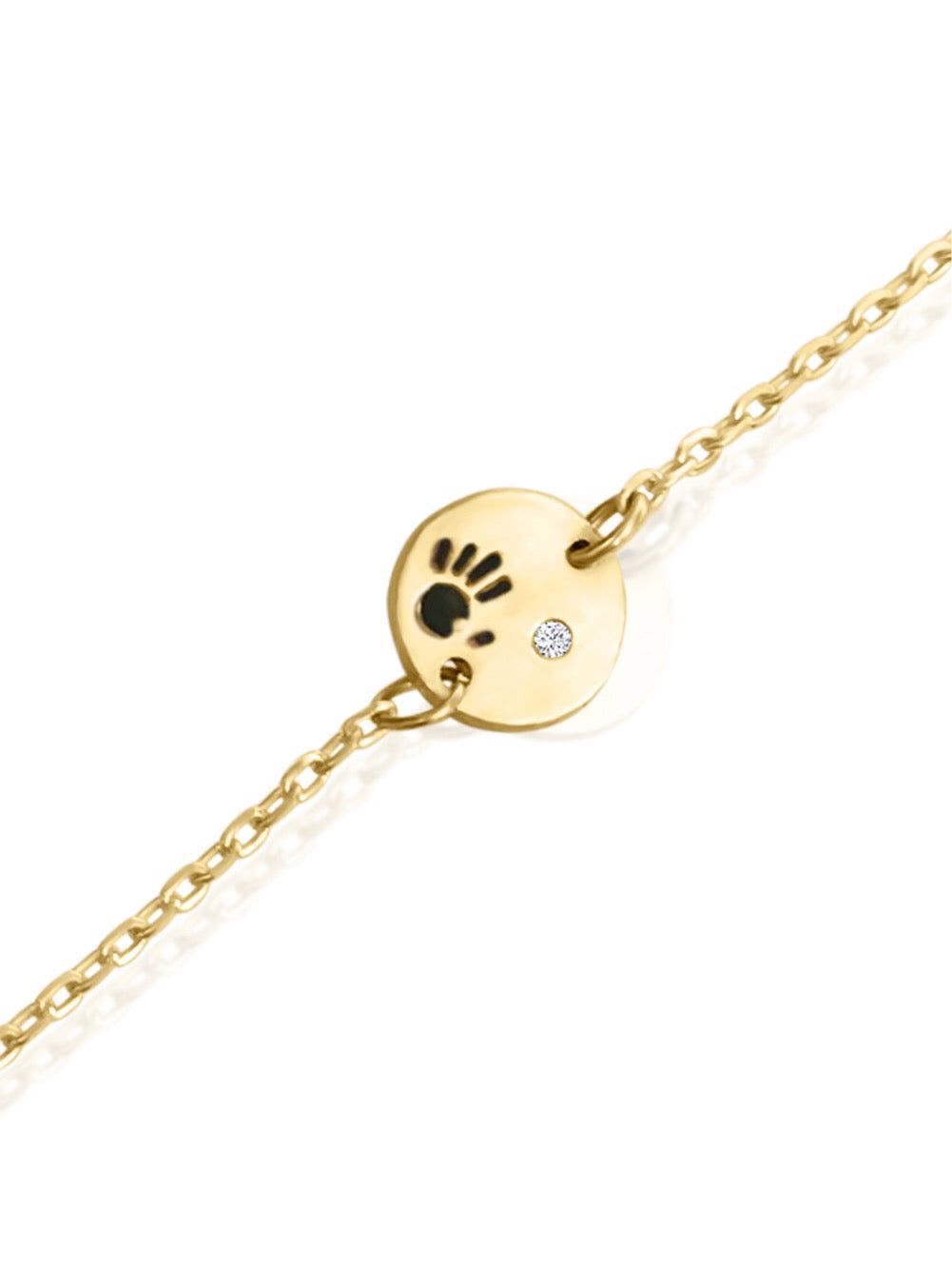 14k Gold Diamond Love Is In Your Hands Bracelet