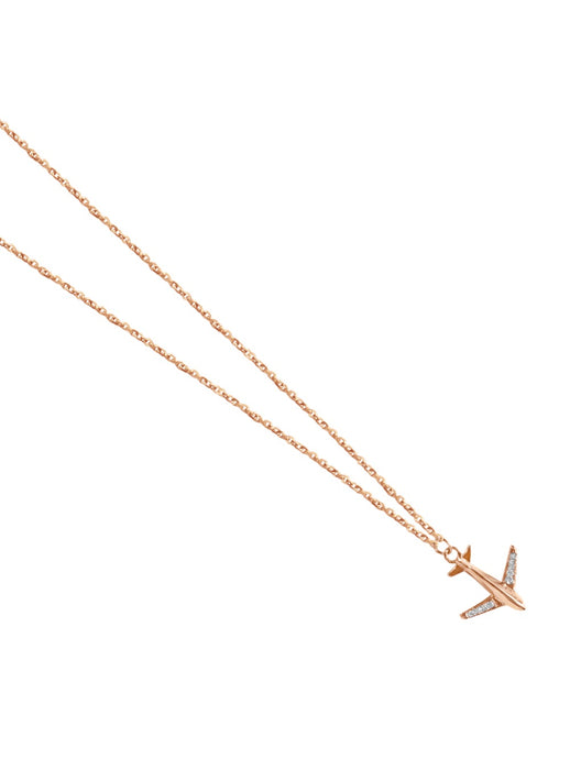 14K Gold Airplane Micropave Diamond Necklace