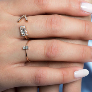 14k Gold Mini Diamond Baguette Ring