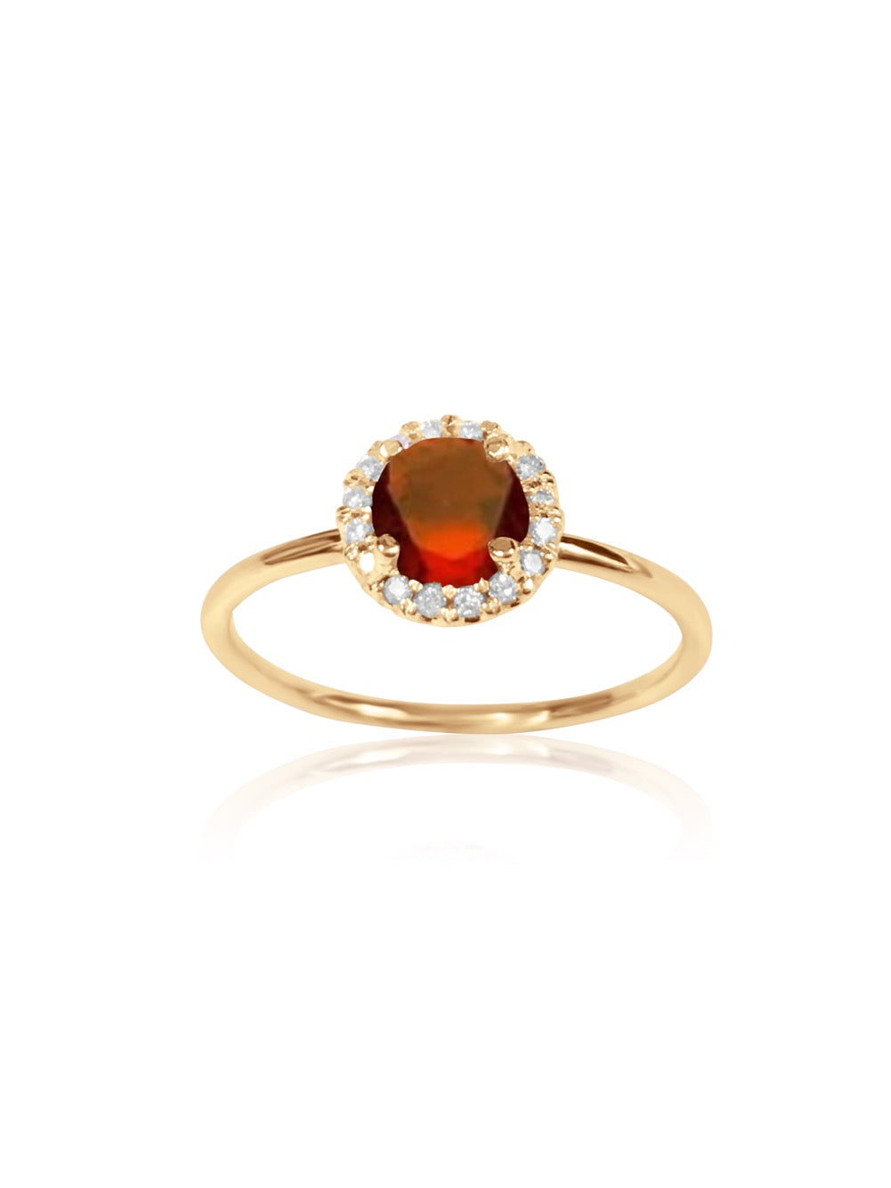 14k Gold Diamond Gemstone Ring