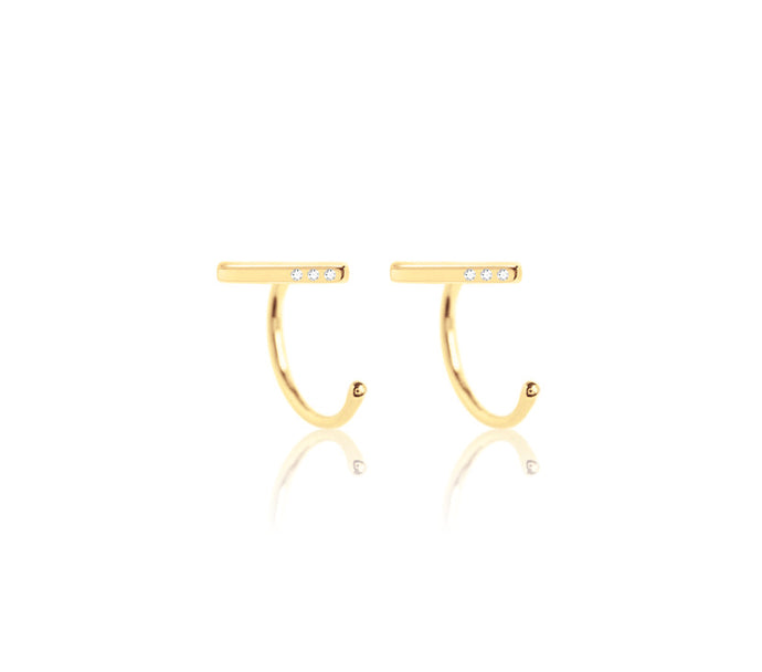 14K Claw Diamond Bar Earring