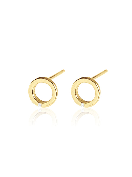 14K Gold Diamond Mini Circle Earring