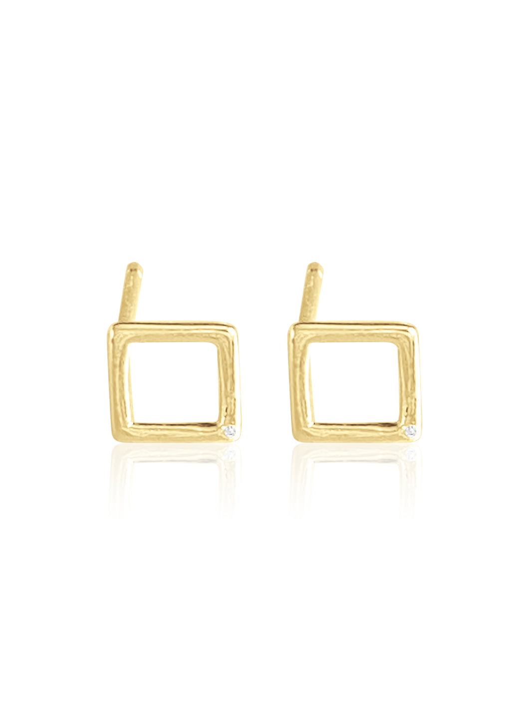 14K Gold Diamond Square Earring
