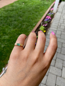 14K Gold Emerald Signet Ring