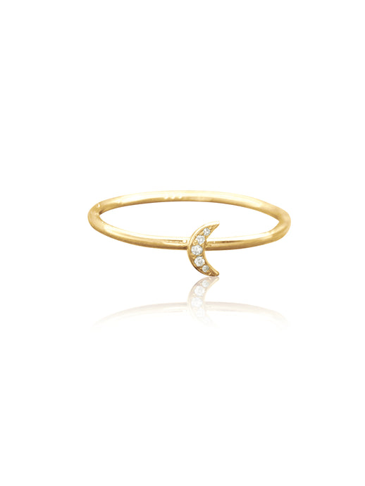 14K Gold Pave Diamonds Mini Moon Stackable Ring
