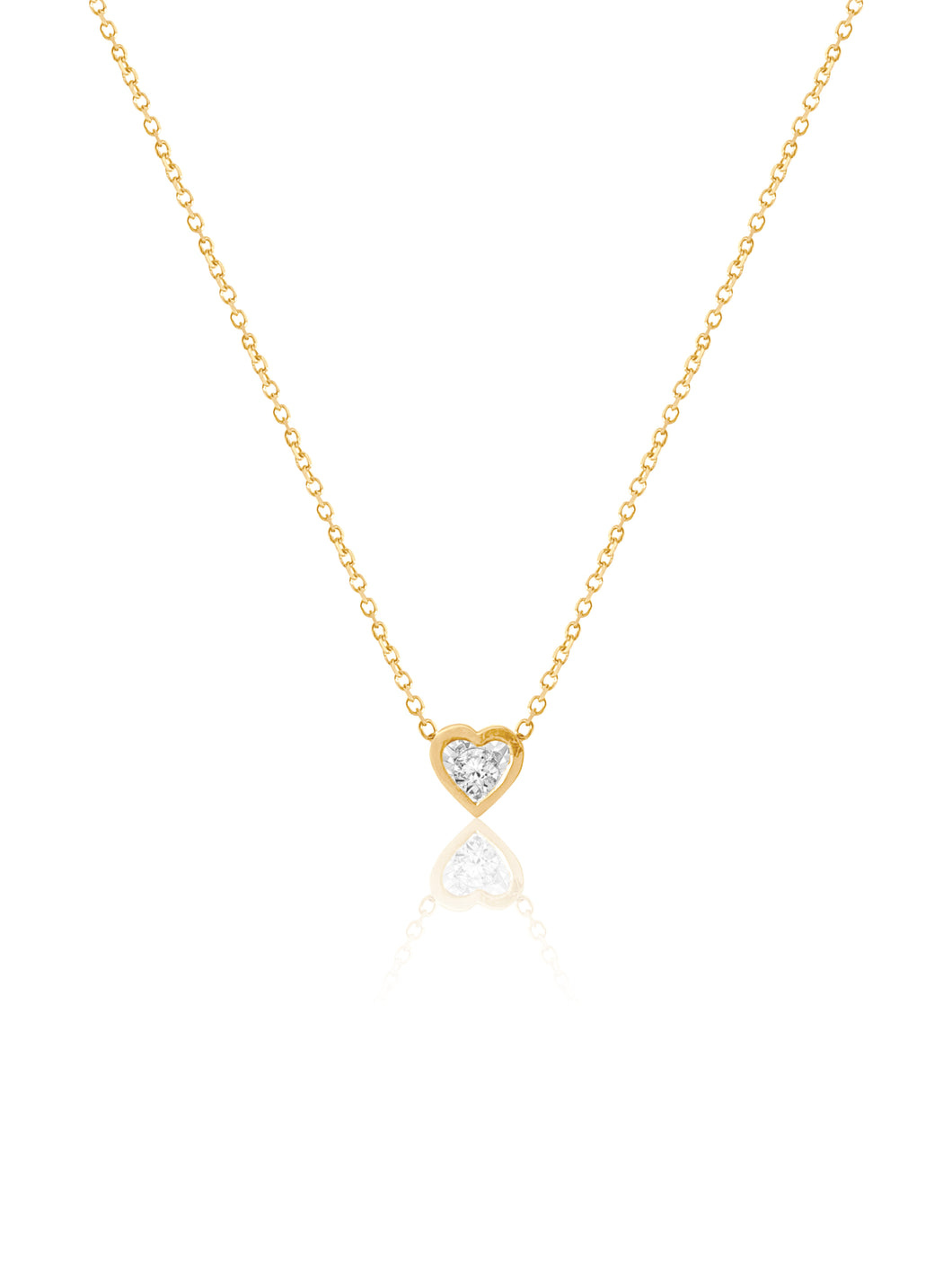 14K Heart Shaped Bezel Diamonds Necklace