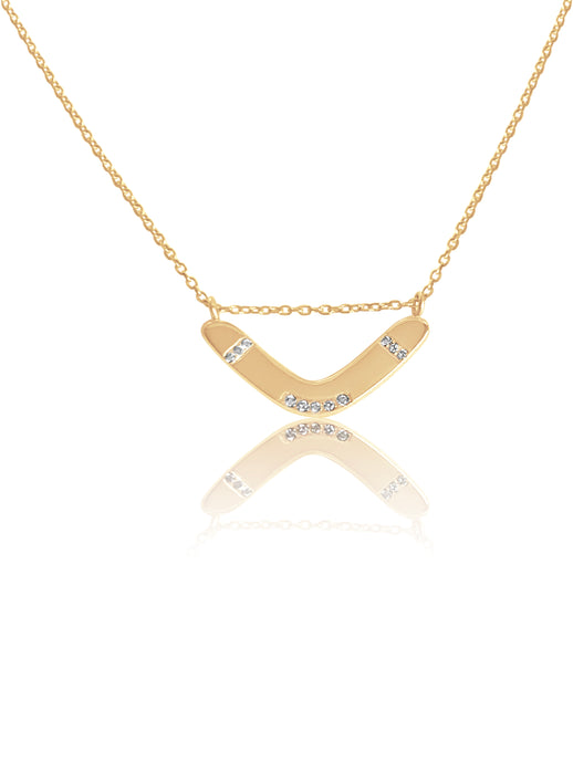 14k Diamond Boomerang Necklace