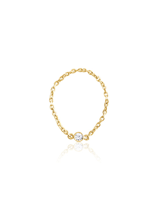 14K Gold Birthstone Soft Chain Ring