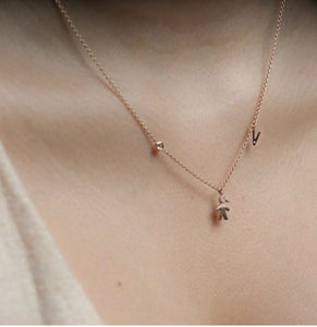 Mom 14k Diamond Initial & Gemstone Necklace