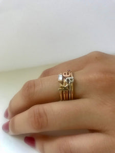 14k Gold Diamond/Gemstone Baguette Ring