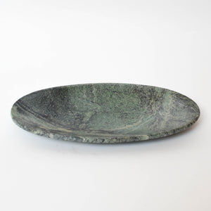 Large Green Oval Marble-effect Plate
