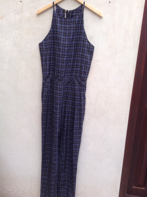Checked Blue Jumpsuit