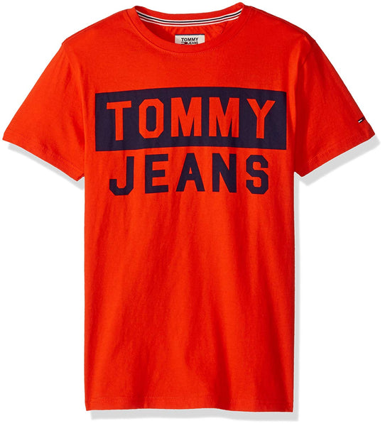Authentic Tommy Jeans Logo Print T Shirt- Spicy Orange S,M,L,2XL - Outlet44.com