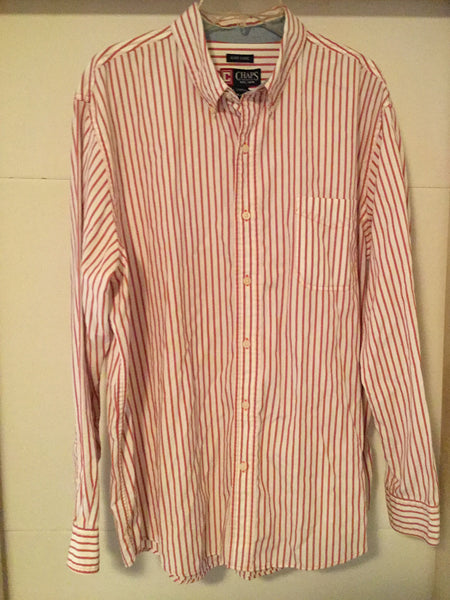 Chaps Button Up Candy Stripe XL Tall - Outlet44.com
