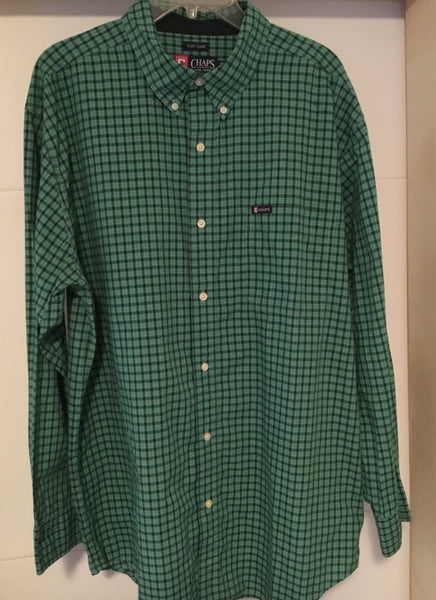 Ralph Lauren Chaps Green Checked Button Up size XL - Outlet44.com