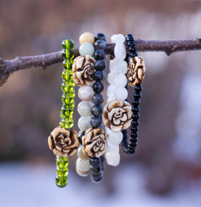 Carved Flower Bone Bead Bracelet | Alissa Taylor Designs