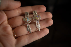 Opal Sun Earrings Fringe Ear Jackets