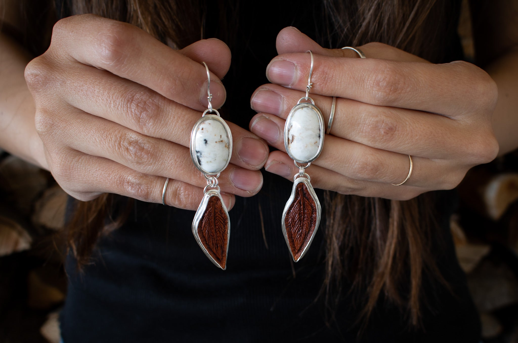 White Buffalo Turquoise Leather Earrings