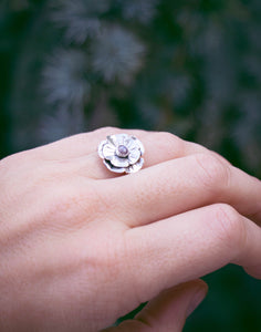 Mountain Flower Moonstone Ring - Size 7.25