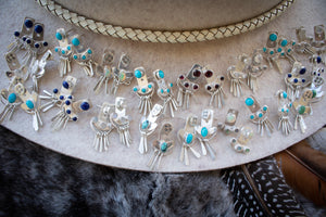 Turquoise Sun Earrings Fringe Ear Jackets