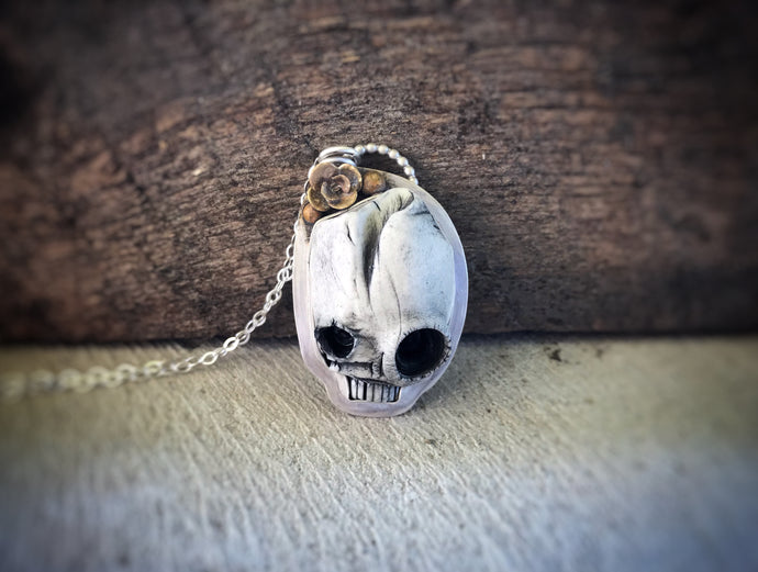 Porcelain Clay Skull Necklace - Halloween - Alissa Taylor Designs