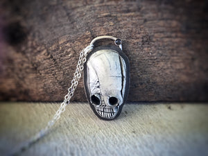 Porcelain Clay Skull Necklace with Black Moonstone - Halloween - Alissa Taylor Designs