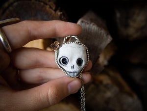 Porcelain Clay Skull Necklace