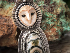 Ocean Jasper Barn Owl Necklace - Alissa Taylor Designs