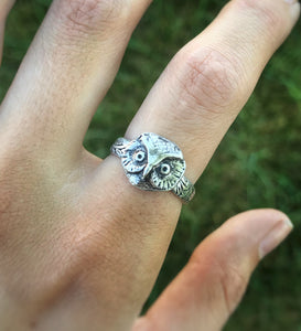 Casted Owl Face Ring - CUSTOM SIZING