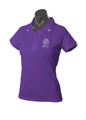 DDH Wellness Flinders Polo Mock-up (Purple/White)