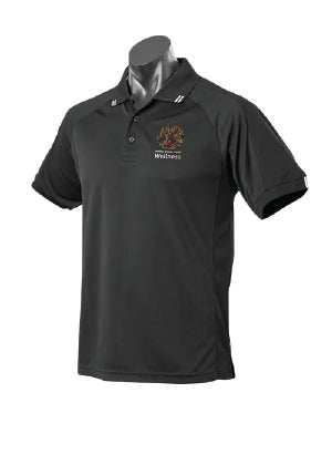 DDH Wellness Flinders Polo Mock-up (Black/White Polo)