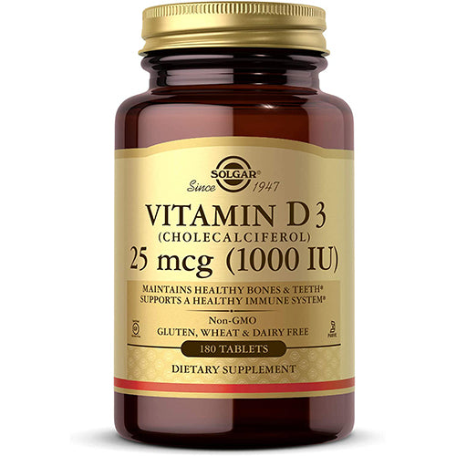 Solgar Vitamin D3 (Cholecalciferol) 1000 IU (25 µg) Tablets - Pack of 180 - Helps Muscle Function