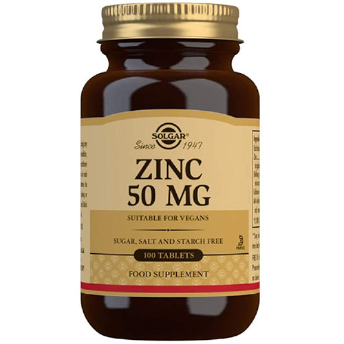 Solgar Zinc 50 mg Tablets - Pack of 100 - High Strength Formulation