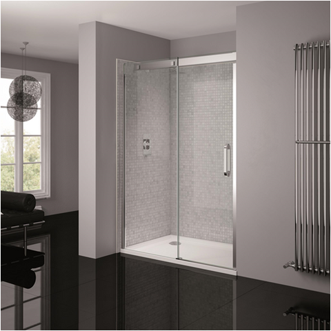 April Prestige Frameless Silver Clear Glass Shower Enclosure - KBME