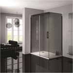 April Prestige Frameless Black Smoked Glass Shower Enclosure - KBME