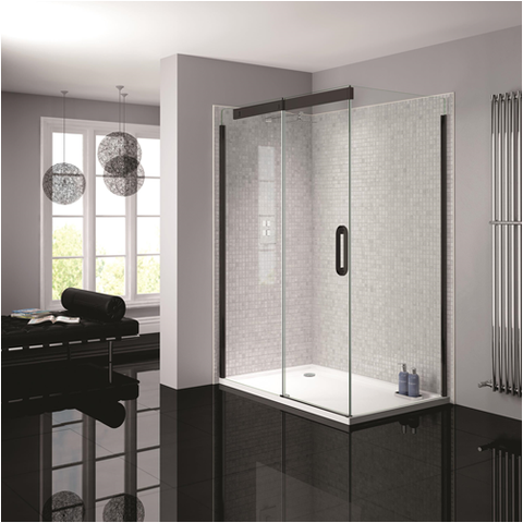 April Prestige Frameless Black Clear Glass Shower Enclosure - KBME