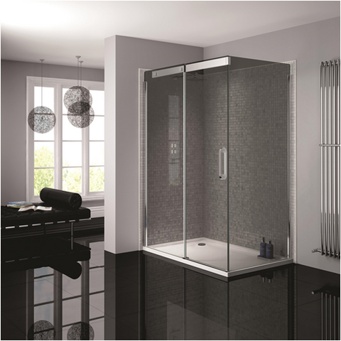 April Prestige Frameless Silver Smoked Glass Shower Enclosure - KBME