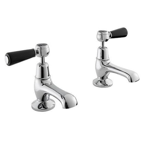 Hudson Reed Topaz Black Lever With Dome Collar Basin Taps Lp1