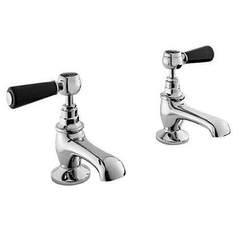 Hudson Reed Topaz Black Lever With Hexagonal Collar Basin Taps Lp1