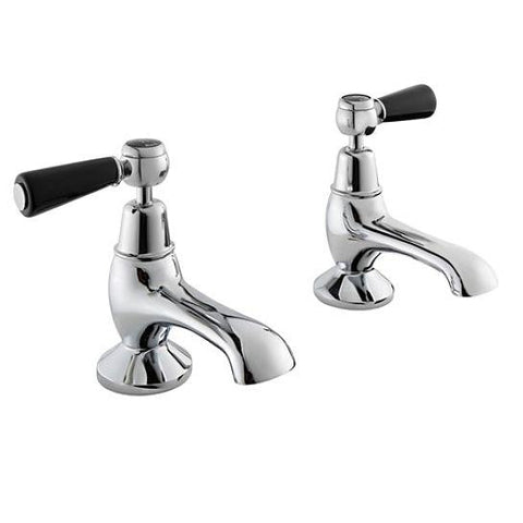 Hudson Reed Topaz Black Lever With Dome Collar Bath Taps Lp1 Bath Taps
