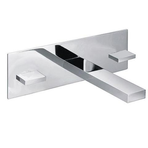 Bloque Three Hole Wall Mounted Basin Mixer With Clicker Waste